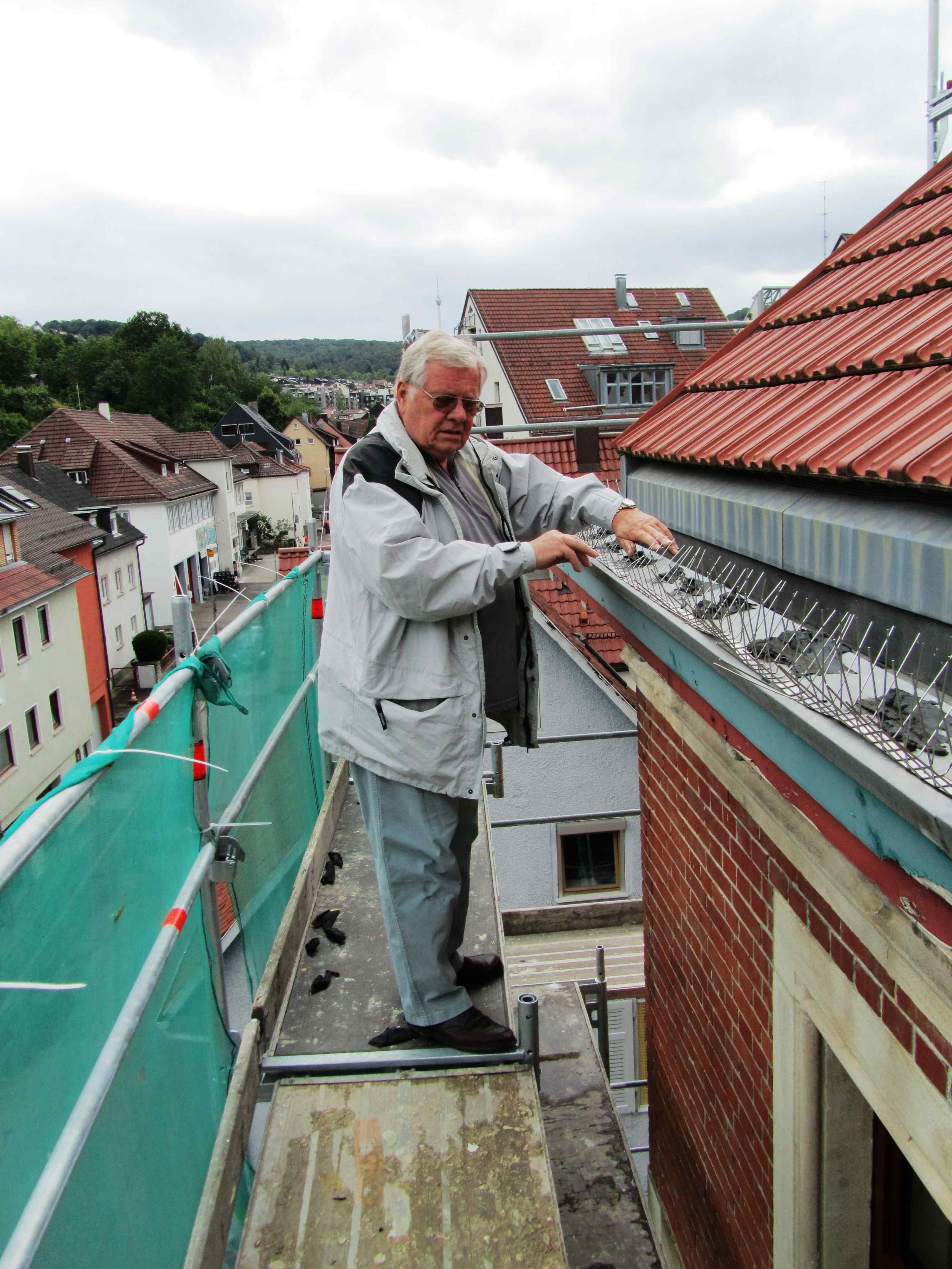 Renovierung / 1. Vorsitzender Gerhard Schlecht auf dem Dach